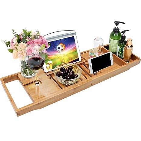 Amazon Com Bamboo Bathtub Caddy Tray Bathroom Organizer With