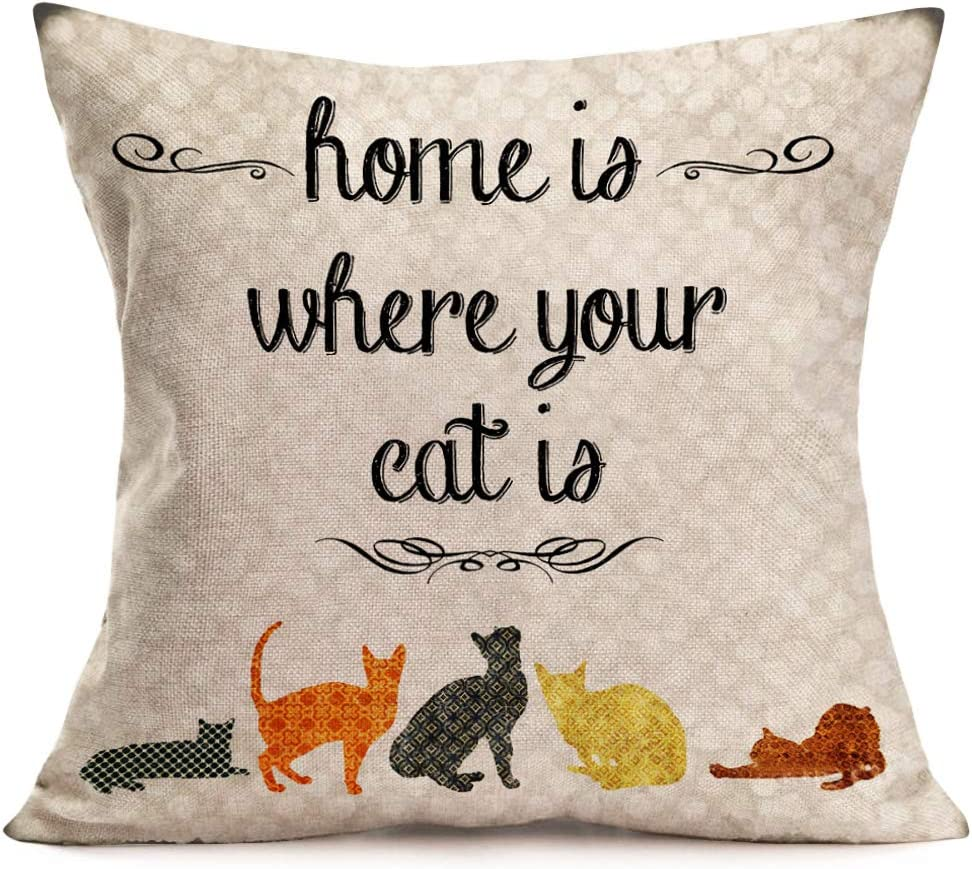 Asamour Inspirational Quotes Cotton Linen Throw Pillow Case Cushion Cover Warm and Healing Lettering Pillow Sham Home Sofa Decor Pillowcase 18''x18'' (Home is Where Your Cat is)