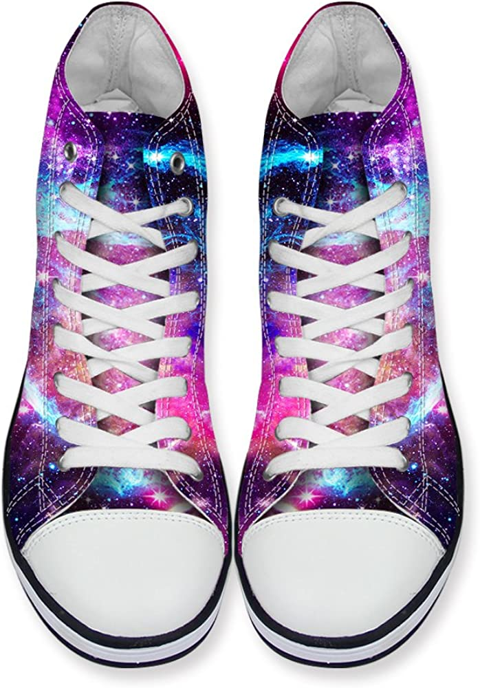 Horeset Unisex Canvas Sneakers Galaxy Print Casual Shoes High Top Classic Solid Colors Lace up Flat Fashion