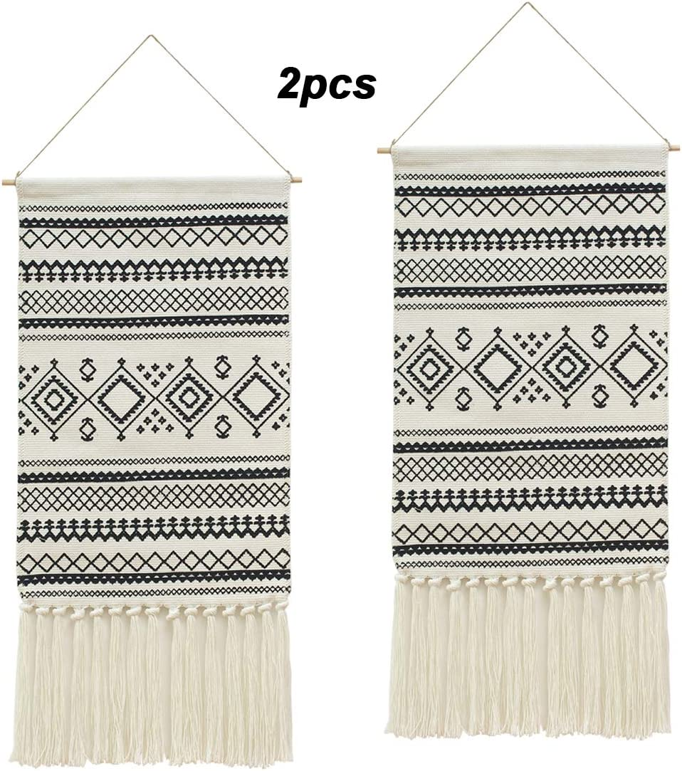 2PCS Macrame Woven Wall Hanging Tapestry, Indian Boho Chic Bohemian Aztec Home Decor Geometric Art Decor Boho Backdrop, Beautiful Apartment Dorm Room Door Decoration, 17.3