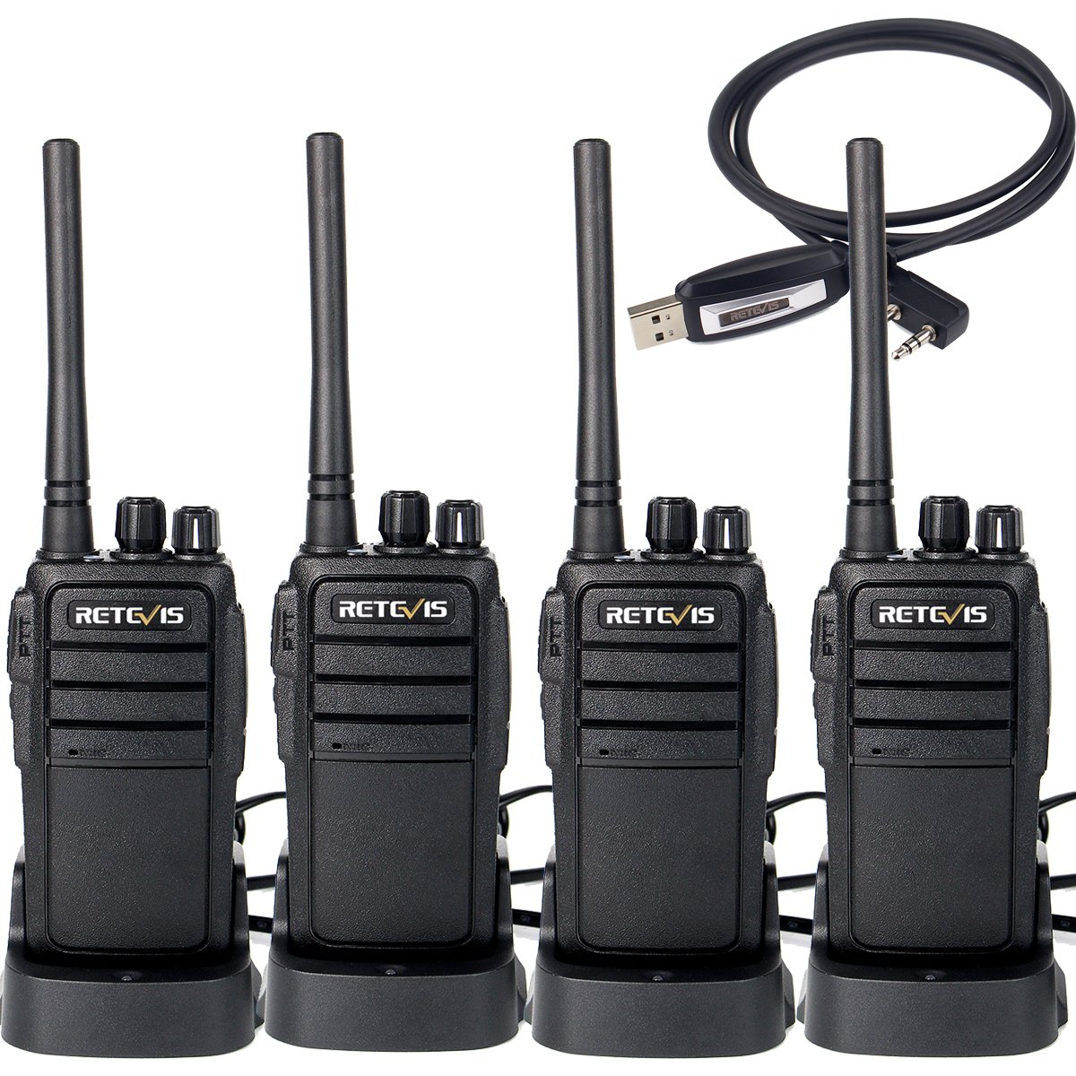 Retevis RT21 Walkie Talkies Rechargeable 16 Channels FRS License-Free 2 Way Radios( 4 Pack) with Programming Cable
