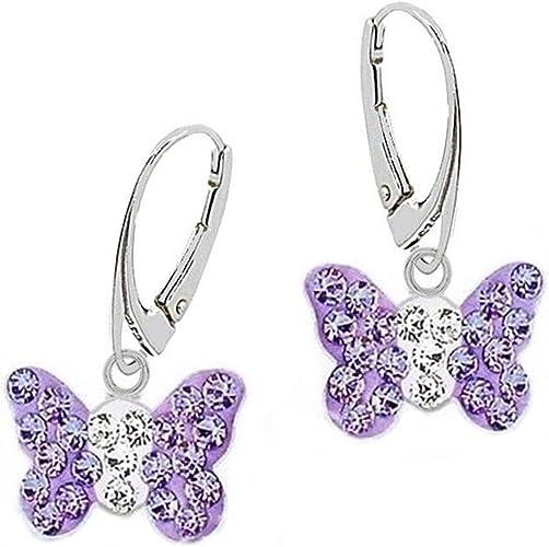Licorne et papillon brillant Set de 2 paires de boucles doreilles /à tige blanc. violet Boucles d/'oreilles d/'enfants pour fille GH1a Argent 925 v/éritable rose
