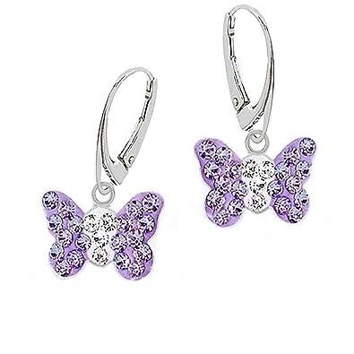 Boucles D Oreilles Pendantes Dormeuses Gh Papillon En Cristal Violet