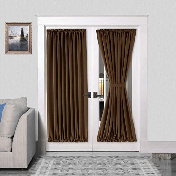 """ONE THERMAL BLACKOUT ROD POCKET FRENCH DOOR WINDOW PANEL W//TIE BACK 72/""""L DAYSI"""