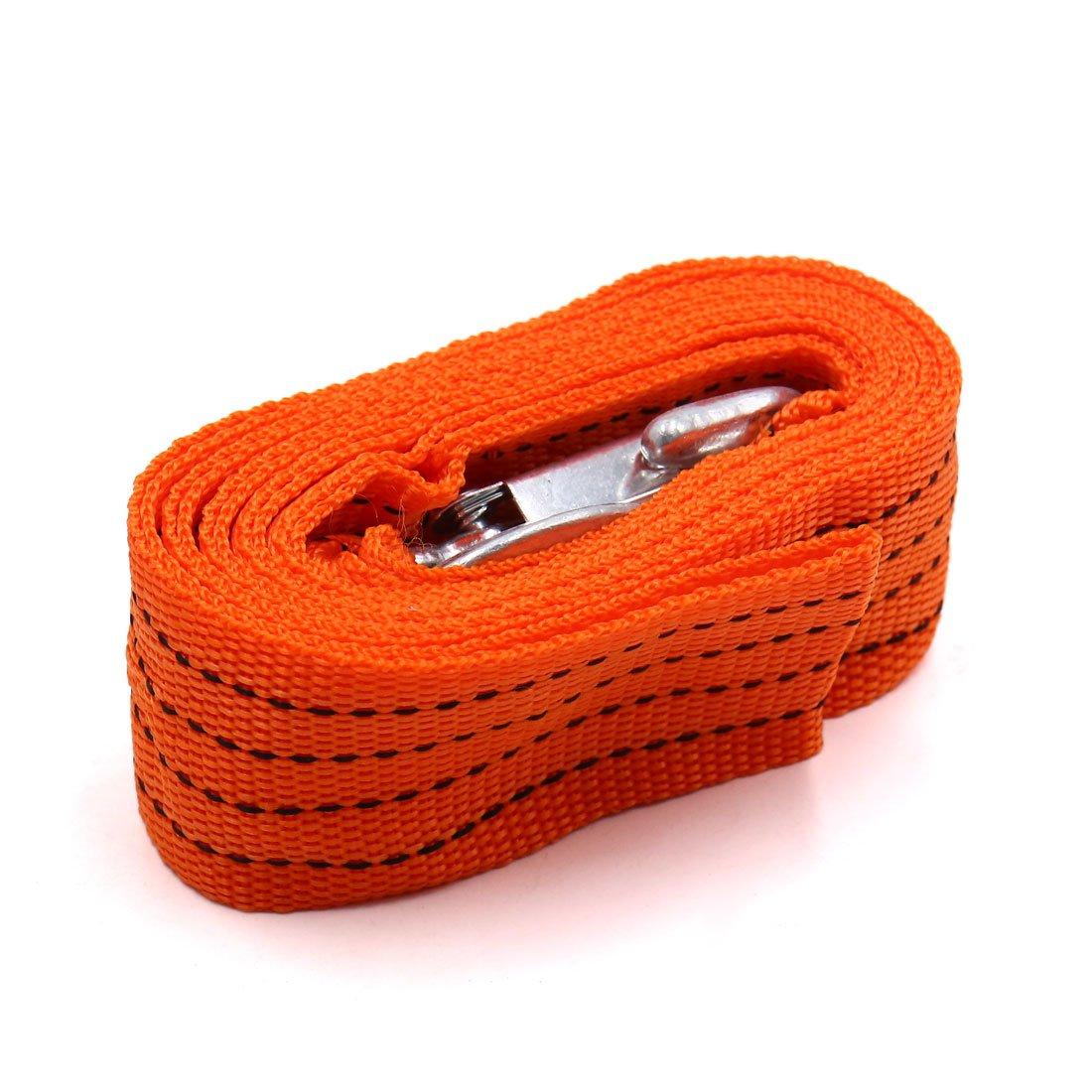 sourcing map Sangle remorquage d'urgence 3tonne Corde 300cm Long Orange w 2crochets pour vé hicule
