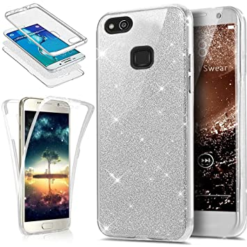 Funda Huawei P10 Lite 360 Grados Integral Para Ambas Caras Carcasa,Huawei P10 Lite Transparente Funda Caso 360 Grados Full Body Protección Completa ...