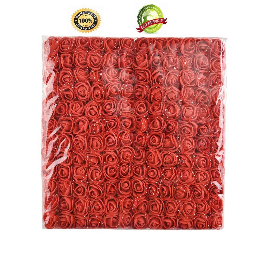 Foam-Rose-144-pcs-2-cm-Mini-Artificial-Flower-Bouquet-Multicolor-Rose-Flower-Wedding-Scrapbooking-Decoration-Rose-Fake-Flower-red