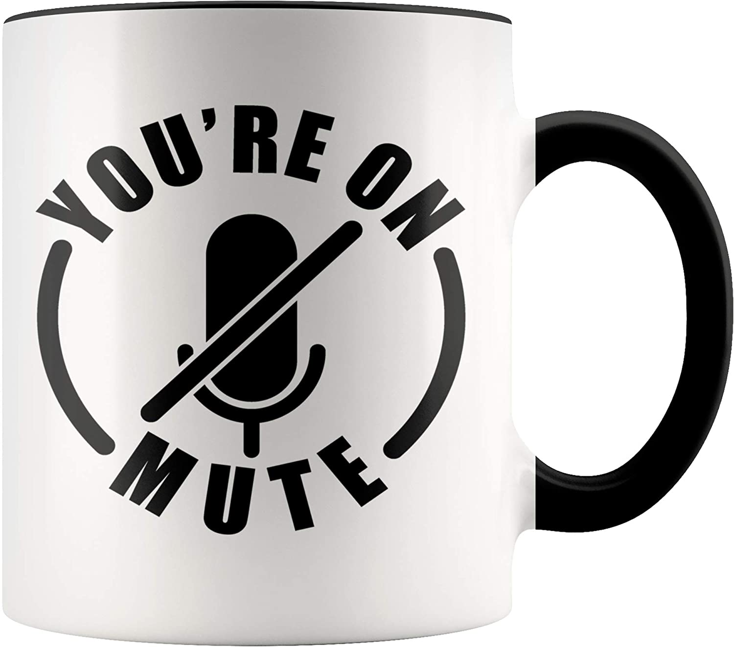 YouNique Designs Youre On Mute Mug, 11 Ounces, Work from Home Coffee Mug, Virtual Teacher Cup, Coworker Mug (Black Handle)