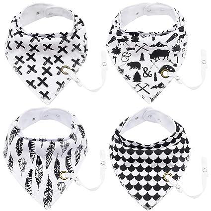 Brideal Baberos bandana unisex para bebés, paquete de 4 con ...