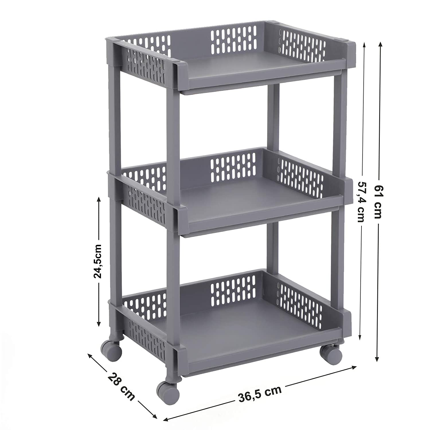 SONGMICS Rolling Trolley Storage Unit with 3 Shelves for Kitchen Bathroom Cellar KSC03WT
