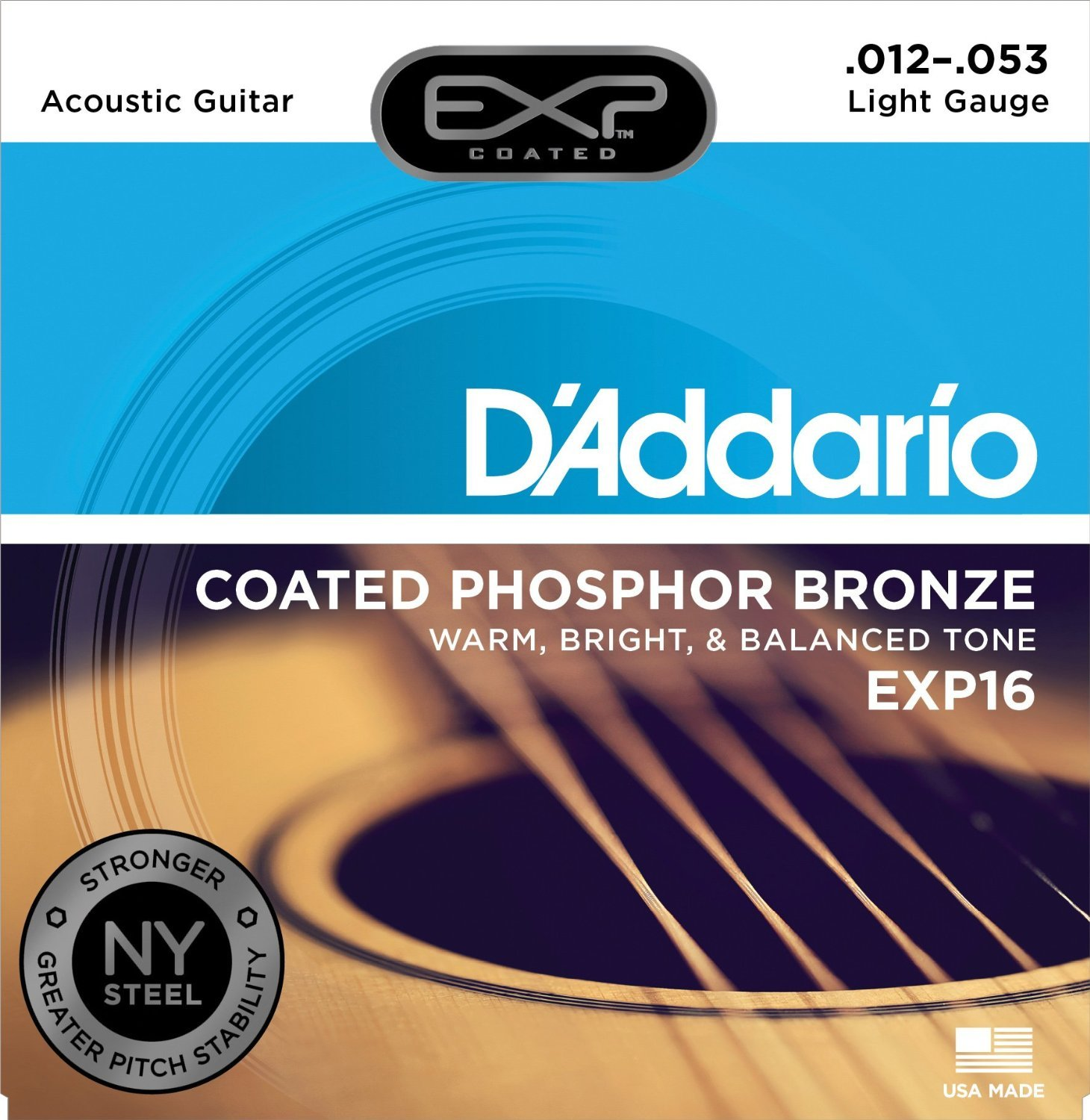 D'Addario EXP16 with NY Steel Phosphor Bronze Acoustic Guitar Strings, Coated, Light, 12-53 by D'Addario (Image #1)
