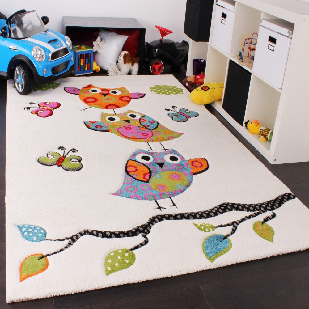 Children's Rug, Cute Owl in Cream / Blue / Orange / Green 120x170 cm Children's Rug PHC