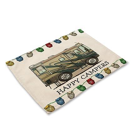 Paño de lino aislamiento colchones de dibujos animados camping caravana vajillas alfombras Cotton tela de lino