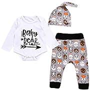 3310d84ad Unisex Toddler Infant Newborn Girl Boy Baby Bear Romper Cute Animal Pants  3pcs Outfits Set (6-12 Months, White)