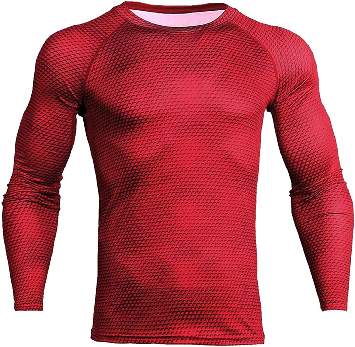 Mens Skinny Athletic Cool Dry Long Sleeve Solid Color Running T-Shirt