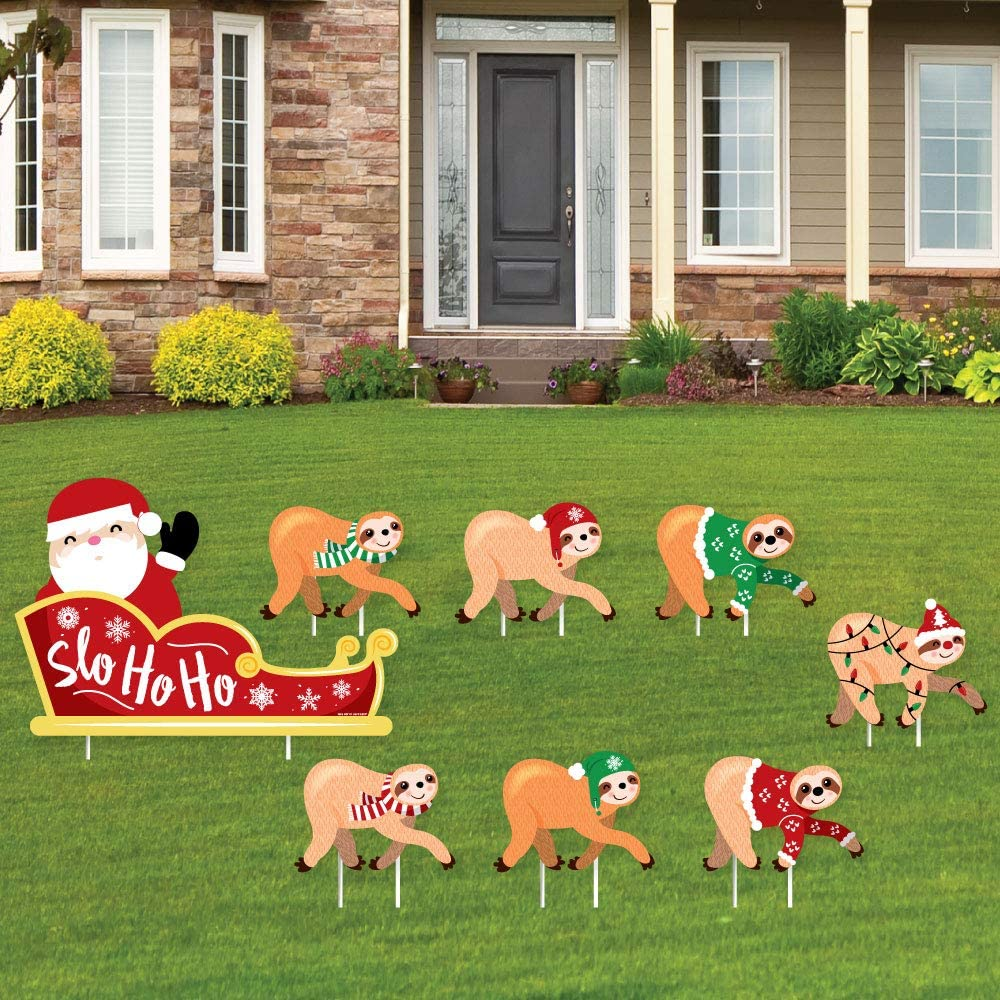 Big Dot of Happiness Sloth Christmas Santa Sleigh - Yard Sign and Outdoor Lawn Decorations - Merry Slothmas Holiday Party Yard Signs - Set of 8