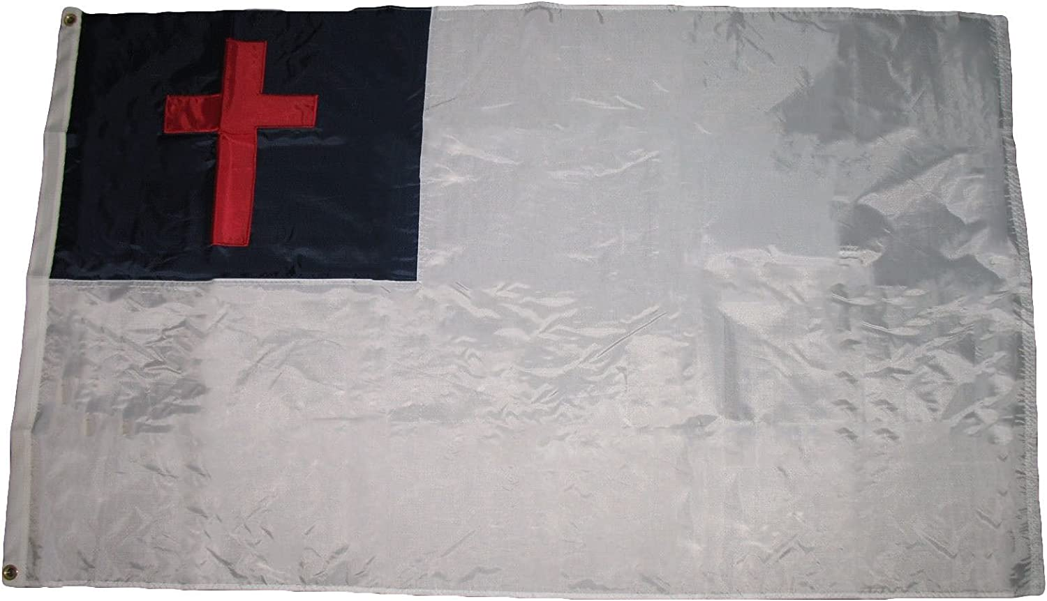 NORTH SHORE HOME AND GARDEN 3'x5' Christian Flag (Sewn Cross) - 100% American Made - Outdoor Nylon - Premium Quality 3x5 Embroidered Christian Christ Cross 200D Sewn Nylon Flag 3'x5' Made in USA
