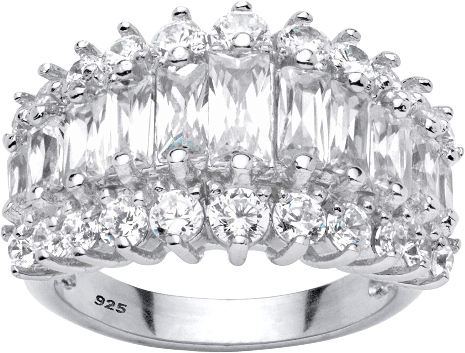 Platinum over Sterling Silver Emerald Cut Cubic Zirconia Triple Row Anniversary Ring