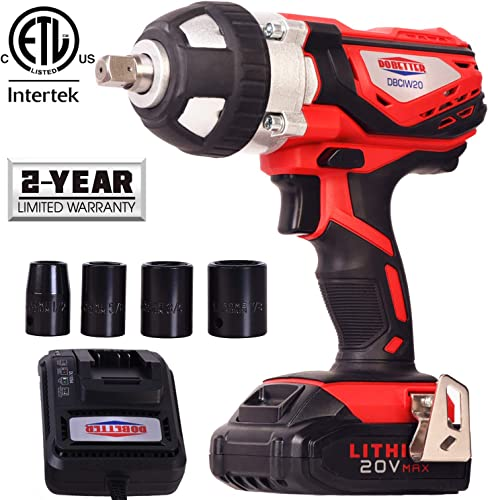 Cordless Impact Wrench 1 2 Max Torque 300N.m Compact Battery Impact Wrench with 4Pcs Sockets, 1.5A Li-ion Battery and Fast Charger, Dobetter-DBCIW20
