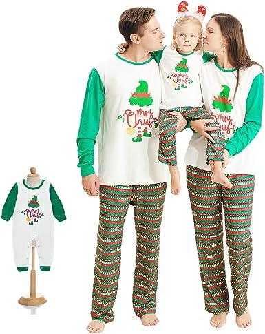 Pijamas de Navidad a Juego con La Familia Pjs Ropa de Dormir de Navidad Ropa de Dormir Ropa de Casa Camiseta Tops + Pantalones Largos a Rayas Papá ...