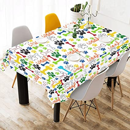 .com: wece home decor funny dog paws and bones tablecloth, dog ...