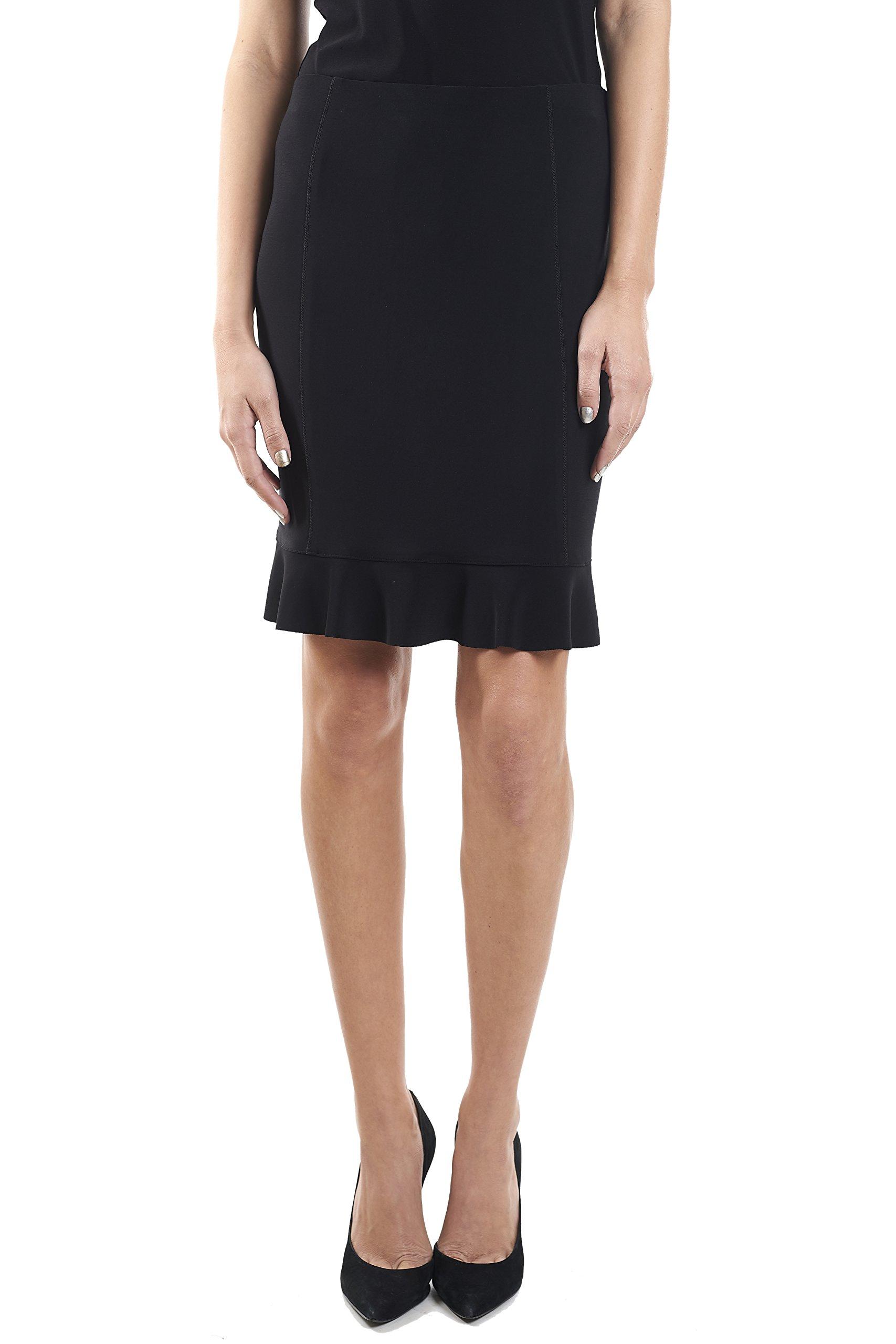 Joseph Ribkoff Black Ruffle Hem Skirt Style 161080 - Size 14