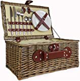 Cream Lined 2 Person Wicker Picnic Basket with Built In Chiller Compartment with Accessories - Ideas for Birthday, Wedding, Anniversary and Corporate