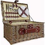 Cestino da picnic per 2 persone,con fodera crema,in vimini con scomparto integrato e accessori