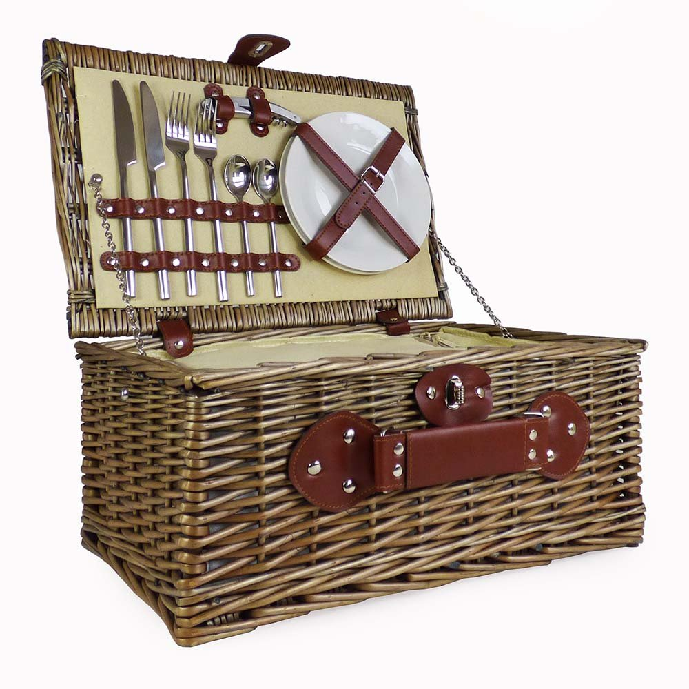 Cream Lined 2 Person Wicker Picnic Basket with Built In Chiller Compartment with Accessories - Ideas for Birthday, Wedding, Anniversary and Corporate Fine Food Store