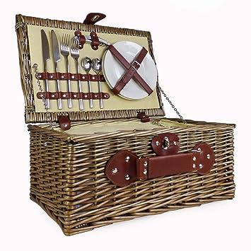 2 persona mimbre cesta de Picnic con construido en compartimento enfriador y lujo - Cubertería de acero inoxidable ideas para cumpleaños, boda, ...