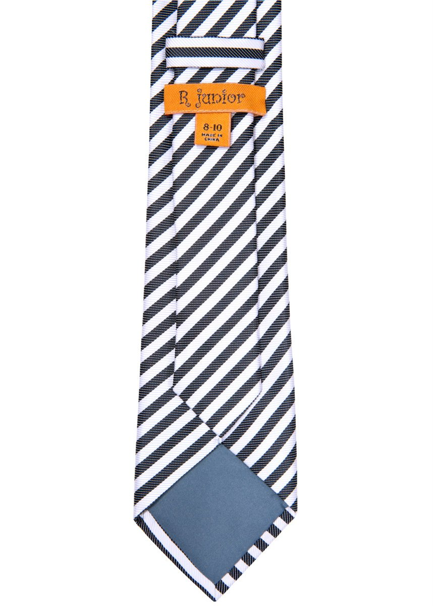 Retreez Striped Woven Microfiber Boy's Tie (8-10 years) - Black and White Stripe by Retreez (Image #3)