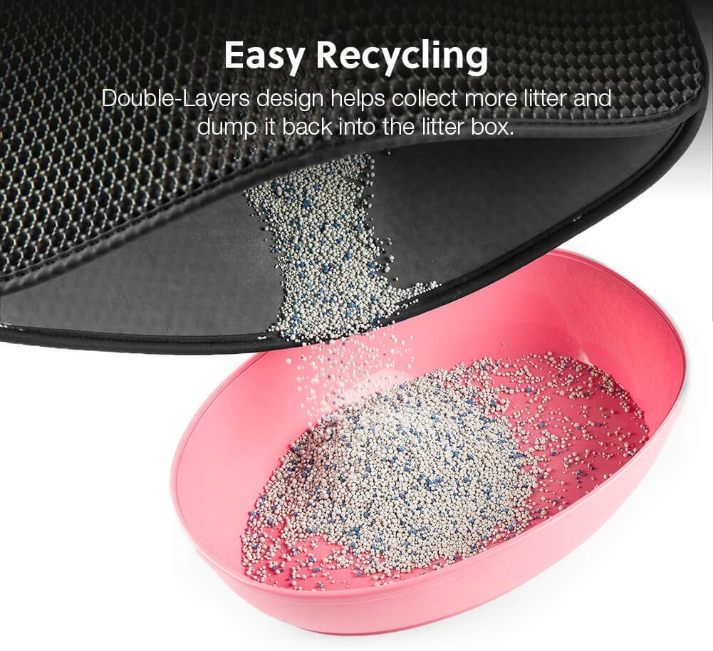 Easy Clean Kitty Litter Trapping Mat WePet Cat Litter Mat Honeycomb Double Layer Mats Catcher Litter Tray Box Rug Carpet No Phthalate Urine Waterproof Scatter Control