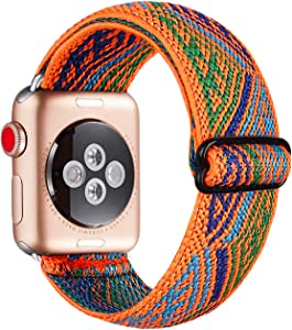 QLMAINS Adjustable Elastic Watch Band Compatible for Apple Watch,Aztec Pattern Bracelet Replacement Wristband Women Stretch Strap for Iwatch Series 5/4/3/2/1 (Orange Wave,42MM/44MM)