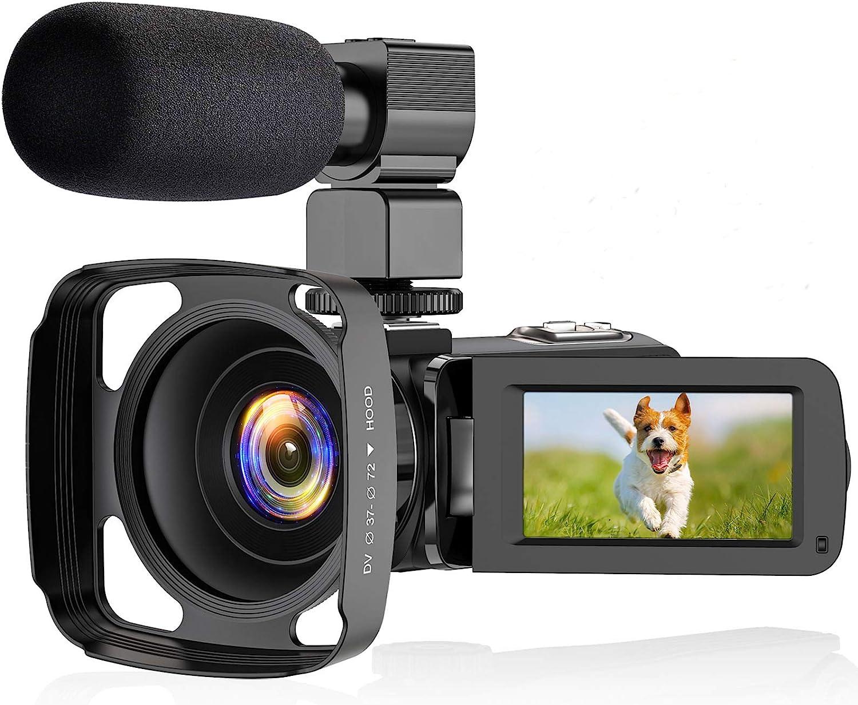 ZORNIK 2.7K Videocámara, Cámara de Video con Visión Nocturna Digital por Infrarrojos de 36 Megapíxeles, Cámara de Vlogging con Pantalla Táctil LCD de 3.0 Pulgadas y Zoom Potente de 16X