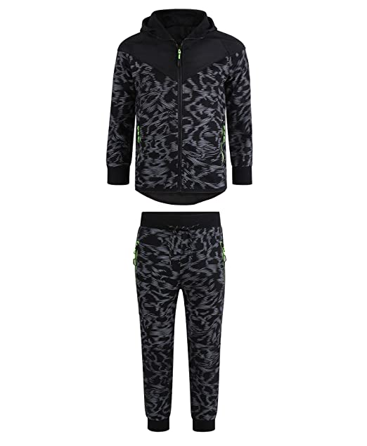 f0b2becf9e LOTMART Boys Quilted Hood 2Piece Tracksuit Scratch Print