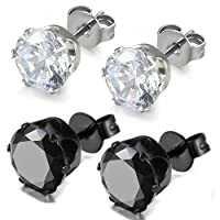 Oidea 4pcs Assorted Color Exquisite Shiny Cubic Zirconia Earring Studs,Stainless Steel Pins,,Hypoallergenic