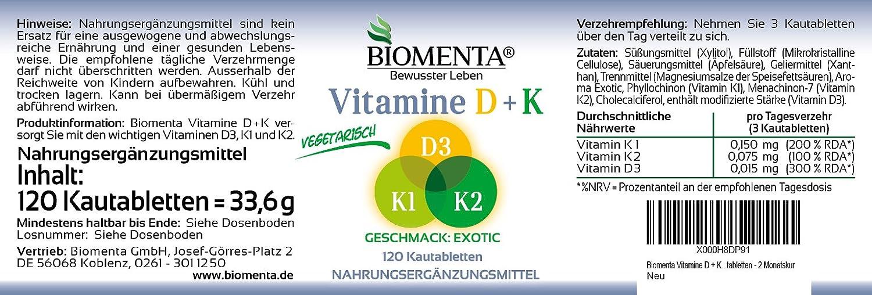 biomenta® Set - Vitaminas (B de vitaminas + Vitamina D3 + Vitamina K1 + Vitamina K2) - Ahorre con la compra del sets: Amazon.es: Salud y cuidado personal