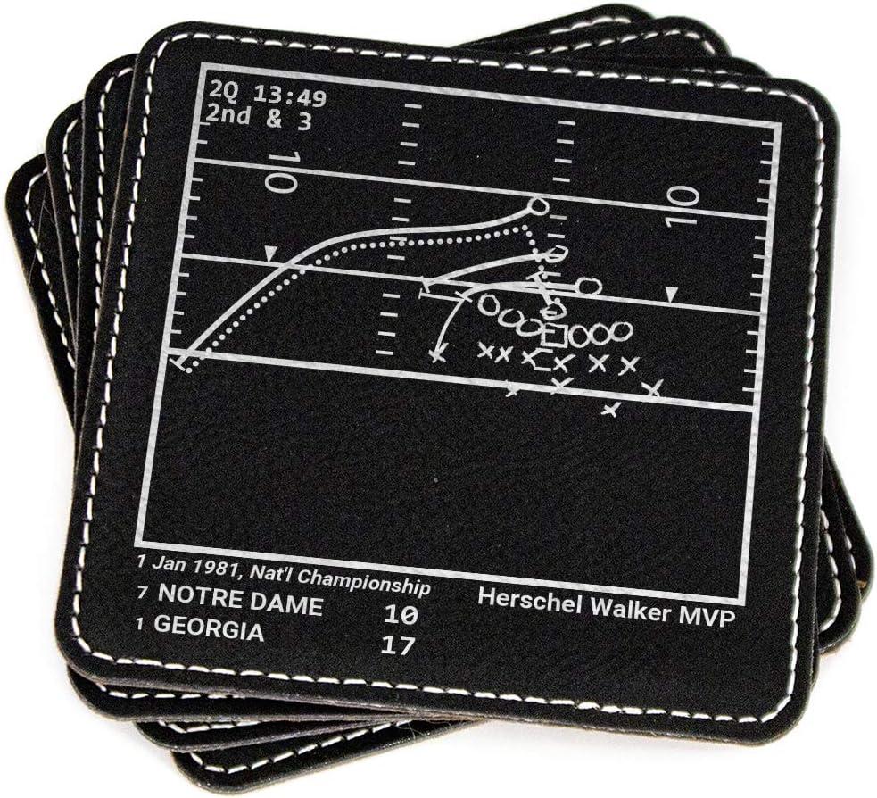Greatest Georgia Football Plays - Leatherette Coasters (Set of 4)