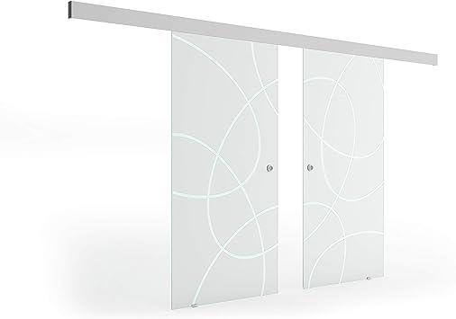 Puerta Corredera de Cristal Transparente Cristal levidor® Easyslide Sistema de Completo Carril de caracola y