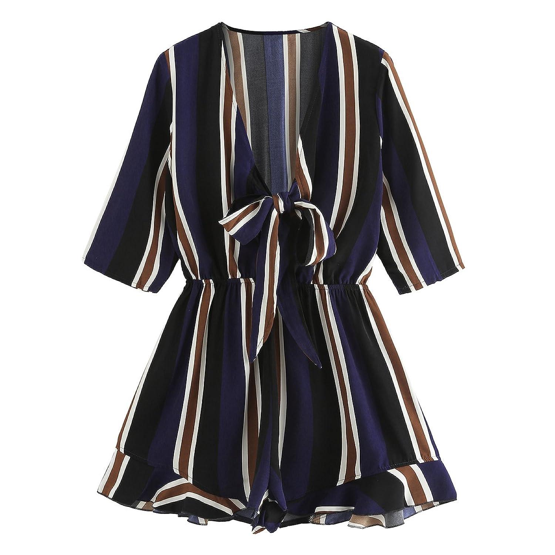 Romwe Women's Sexy Tie Front Ruffle Hem Colorblock Striped Print Romper Jumpsuit