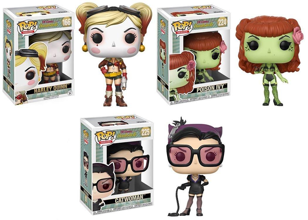 Funko POP! DC Bombshells: Harley Quinn + Poison Ivy Ivy Ivy + Catwoman - Stylized Vinyl Figure Set NEW e8d59e
