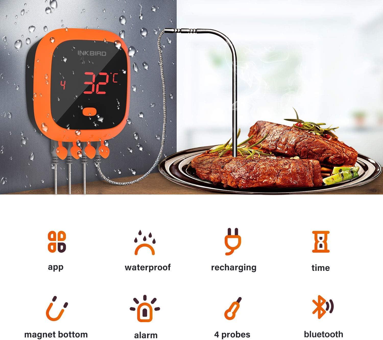 Inkbird IBT-4XS Term/ómetro de carne Term/ómetro inal/ámbrico para barbacoa Term/ómetro de parrilla Bluetooth con bater/ía recargable magn/ética Pantalla giratoria Barbacoa Asador de carne asada Ahumador
