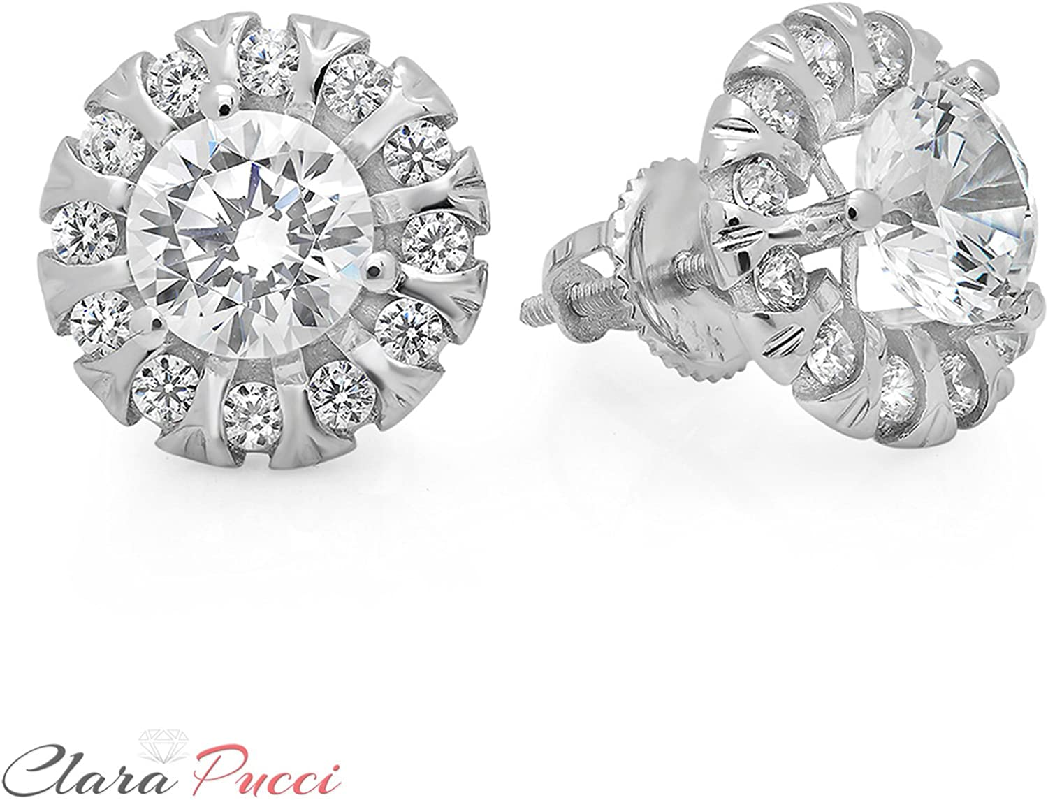 Clara Pucci 0.90 CT Round Cut Solitaire Martini Style Stud Earrings in 14k Yellow Gold Screw Back