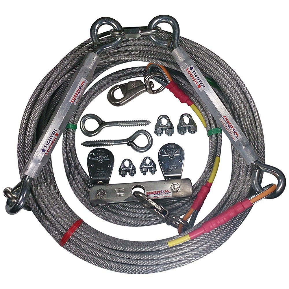 Aerial Cable 150 FT Freedom Aerial Dog Runs Super Heavy Duty (Lead Line Length 14 FT, Aerial Cable 150 FT)