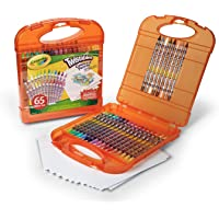65-Piece Crayola Twistables Colored Pencils and Paper Set in A Portable Travel Case