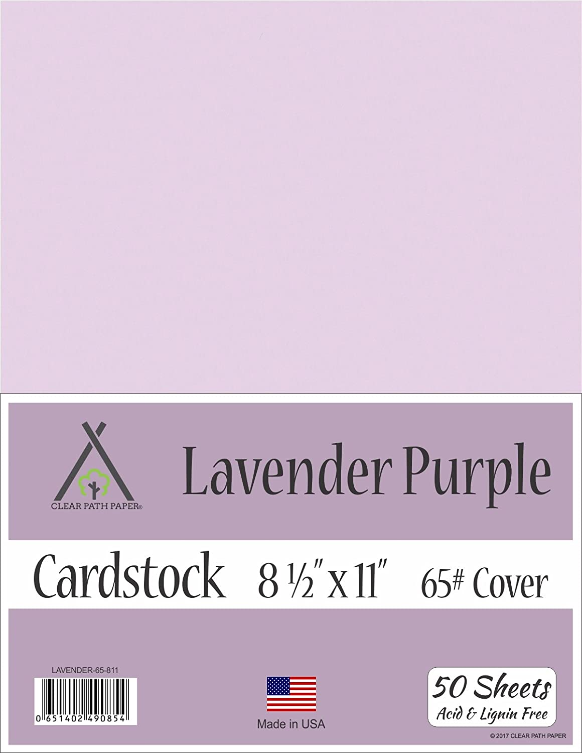 Lavender Purple Cardstock - 8.5 x 11 inch - 65Lb Cover - 50 Sheets Clear Path Paper 4336868141