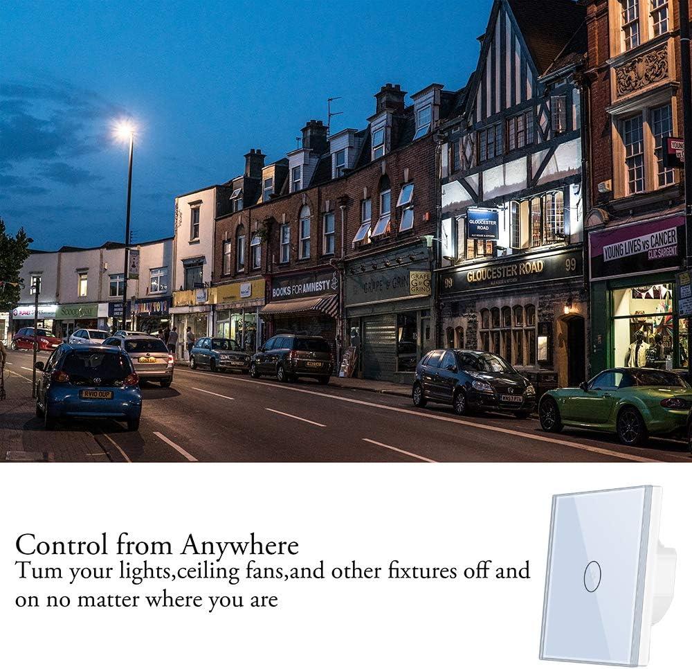 Smart Alexa Interrupteur lumineux Wlan Wifi compatible avec Alexa Echo et Google Home Timing avec /écran tactile en verre tremp/é contr/ôle vos appareils nimporte o/ù.