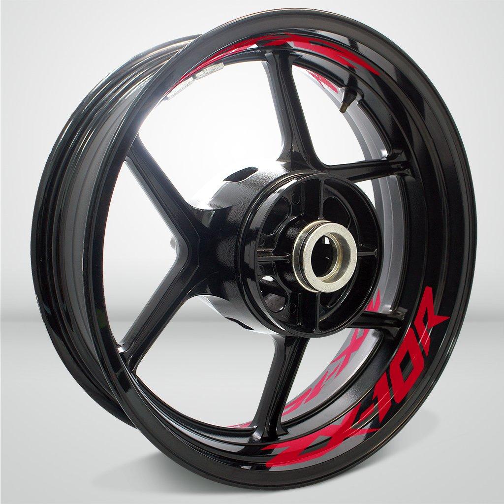 Rosso Lucido Ruote Moto Cerchione Inner Rim Tape Decalcomanie Adesivi per Kawasaki ZX10R