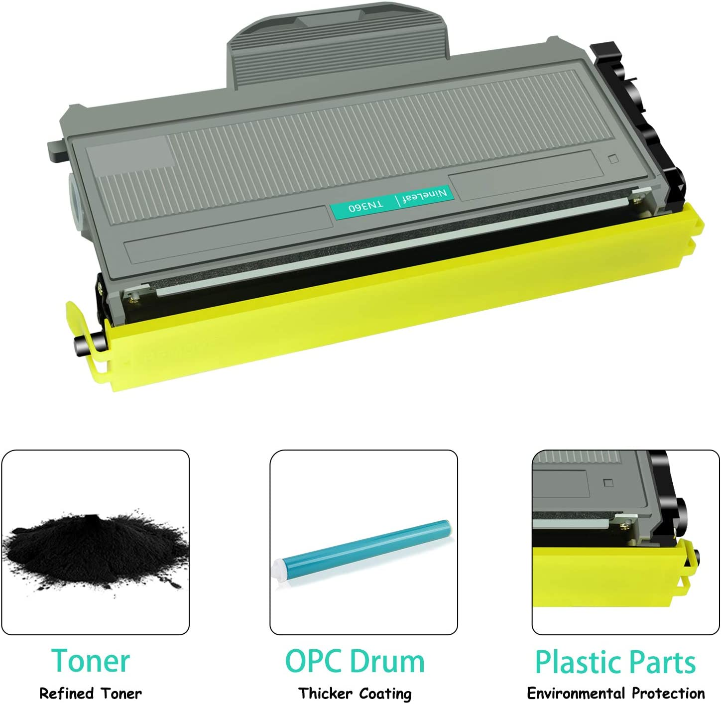 2 Black NineLeaf High Yield 2600 Pages Compatible Toner Cartridge Replacement for Brother TN330 TN360 TN-360 DCP-7030 DCP-7045N HL-2140 HL-2170W MFC-7340 MFC-7440N MFC-7840W Series Laser Printer
