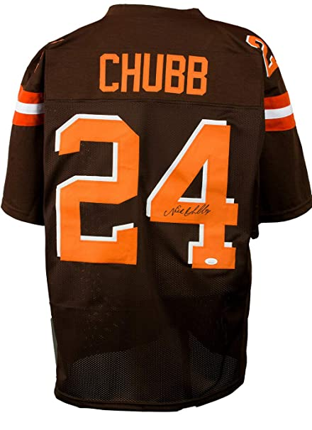 wholesale dealer 70d89 48047 Nick Chubb Cleveland Browns Custom Signed Brown Jersey JSA ...